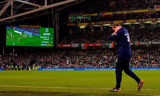 Martin O'Neill reacts during the defeat to Denmark. Photo: Ramsey Cardy/Sportsfile