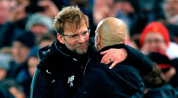 Liverpool manager Jurgen Klopp and Manchester City manager Pep Guardiola. Photo: Peter Byrne/PA Wire