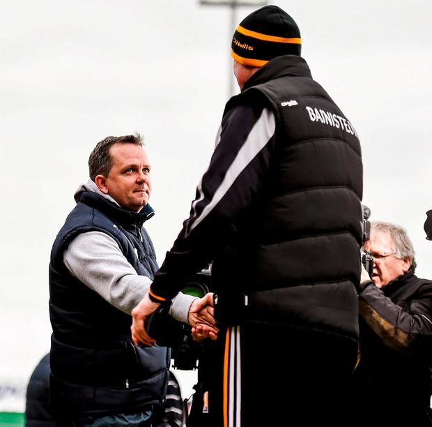 Davy Fitzgerald and Brian Cody will lock horns on the sideline again today. Photo: Stephen McCarthy / Sportsfile