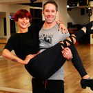 Dancing With The Stars competitor Tomas O'Leary and his partner Giulia Dotta rehearsing for the show. Photo: Steve Humphreys