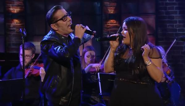Christy and Kiera Dignam performing on the Late Late Show