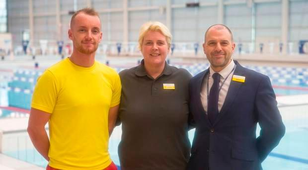 Tony Galbraith, Cathy McGimpsey and Stevie Conn from Bangor Aurora who helped save the life of Eric Capes, a regular swimmer there