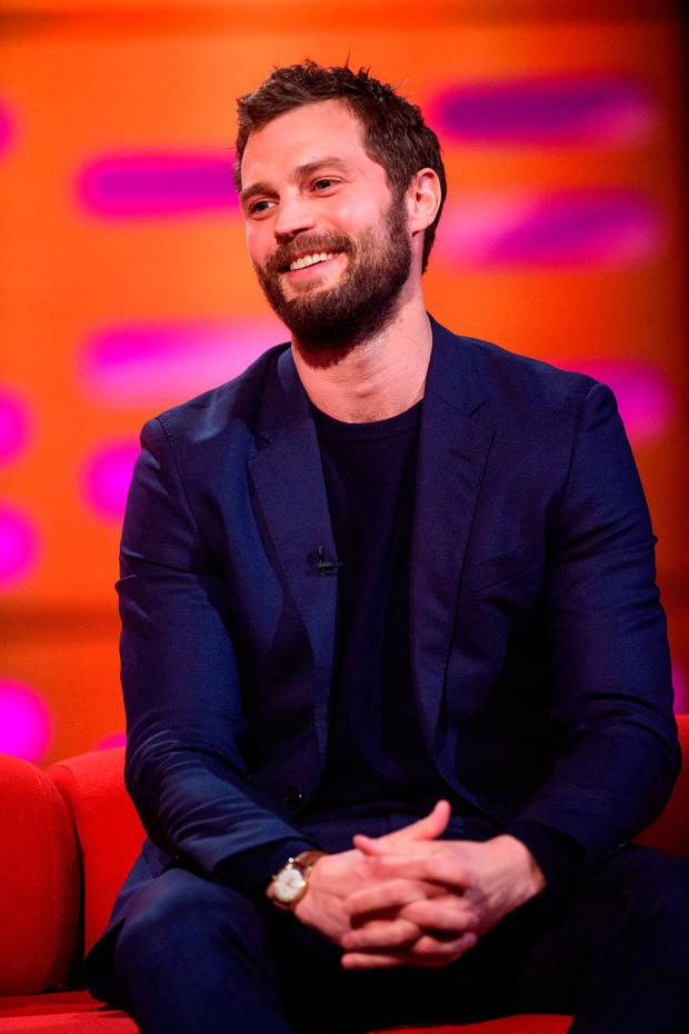 Jamie Dornan, during the filming of the Graham Norton Show at The London Studios, south London, to be aired on BBC One on Friday evening