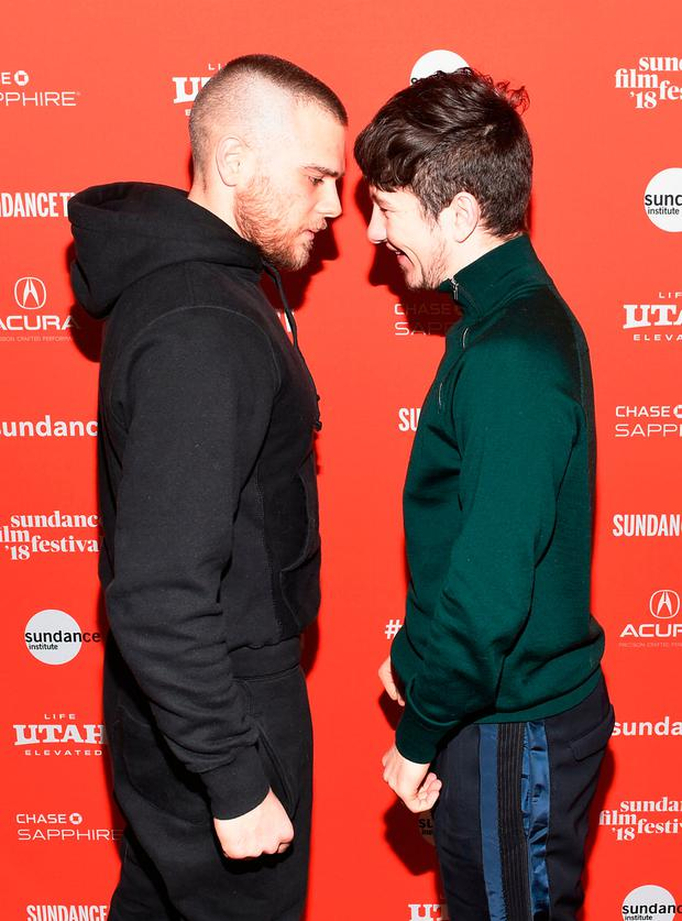 Jared Abrahamson (L) and Barry Keoghan attends the