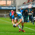 20 January 2018; Ross Byrne of Leinster scores his side's first try during the European Rugby Champions Cup Pool 3 Round 6 match between Montpellier and Leinster at the Altrad Stadium in Montpellier, France. Photo by Ramsey Cardy/Sportsfile