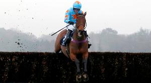 Un De Sceaux ridden by Paul Townend clear the last fence before going on to win The Royal Salute Whisky Clarence House Steeple Chase Race run during Clarence House Chase Raceday at Ascot