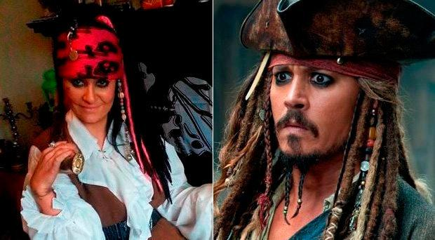 Aye, Aye, captain: Amanda Teague (left), a Jack Sparrow impersonator, had almost given up the ghost when she met her love interest, a 300-year-old Haitian pirate ghost