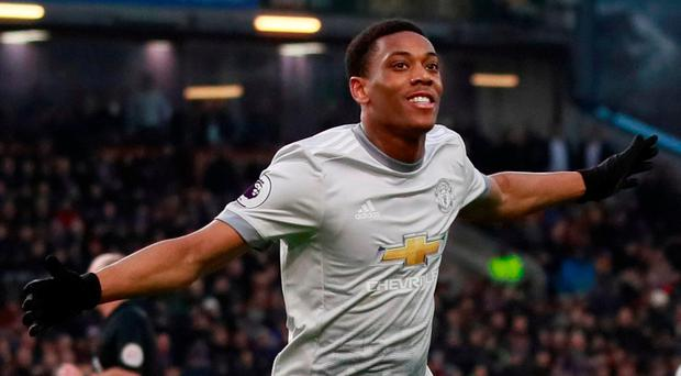 Manchester United's Anthony Martial celebrates scoring their winner. Action Images via Reuters/Jason Cairnduff