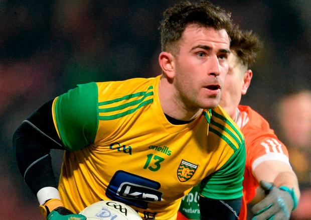 Patrick McBrearty of Donegal in action against Joe McIlroy of Armagh during the Bank of Ireland Dr. McKenna Cup semi-final match between Donegal and Armagh at Celtic Park in Derry. Photo by Oliver McVeigh/Sportsfile