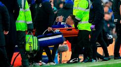 Everton and Republic of Ireland midfielder James McCarthy leaves the field on a stretcher yesterday after his horrific leg break at Goodison Park. Photo: Peter Byrne/PA Wire