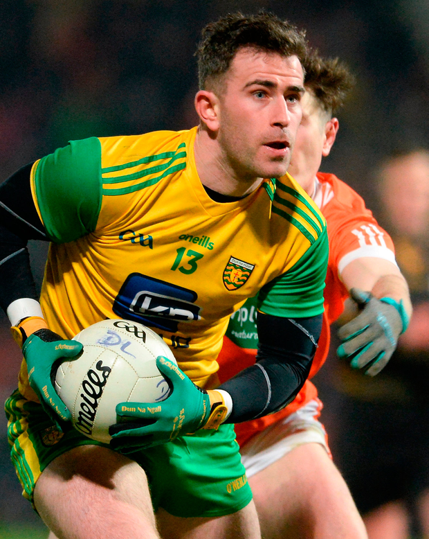 Donegal's Patrick McBrearty in action against Armagh's Joe McIlroy during the McKenna Cup semi-final at Celtic Park in Derry. Photo: Oliver McVeigh/Sportsfile