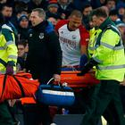 West Bromwich Albion's Salomon Rondon checks on Everton's James McCarthy as he is stretchered off after sustaining an injury to his leg