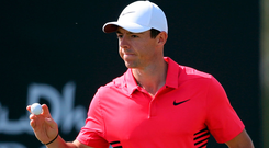 Rory McIlroy reacts yesterday on the 1st hole during the third round of the Abu Dhabi Championship in Abu Dhabi. Photo: Kamran Jebreili/AP