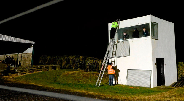 The press box in Haggardstown, Co Louth before an O'Byrne Cup match in 2014. Photo: Paul Mohan/Sportsfile