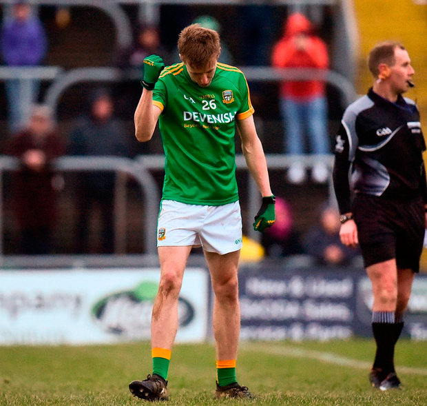 Mark McCabe of Meath reacts after converting his free kick in the shoot-out during the Bord na Mona O'Byrne Cup semi-final in Páirc Táilteann last Sunday. Photo: Seb Daly/Sportsfile