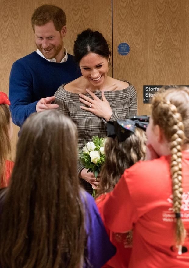 Harry and Meghan attend a street dance class during their visit to Cardiff. Photo: Getty