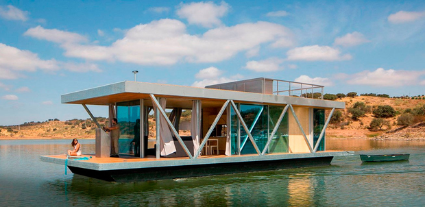 Dublin Bay could become home to around 50 modern houseboats like these