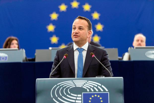 Time for vision: Leo Varadkar addresses MEPs at the European Parliament in Strasbourg last week. Photo: AP