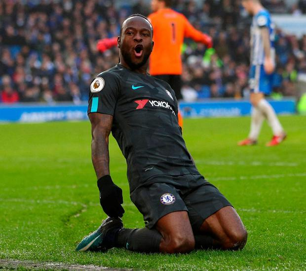 Chelsea's Victor Moses celebrates scoring their fourth goal. Photo: Hannah McKay/Reuters