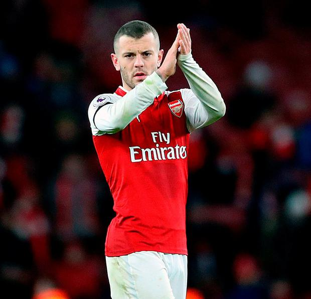 Arsenal's Jack Wilshere applauds fans after the final whistle. Photo: Adam Davy/PA Wire