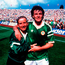 Republic of Ireland's Charlie O'Leary, left and Ray Houghton celebrate after defeating England in Euro 88 . Photo: Sportsfile