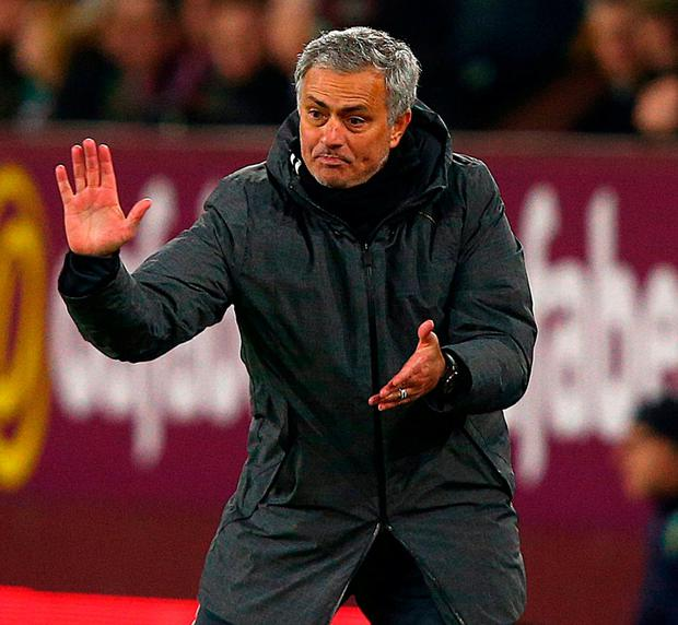 Manchester United manager Jose Mourinho gestures on the touchline. Photo: Dave Thompson/PA Wire