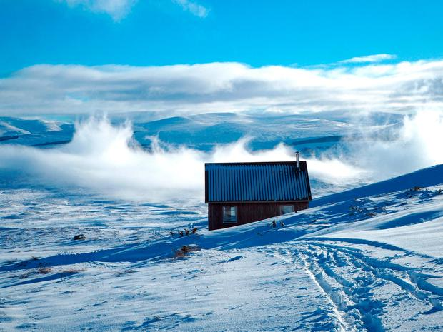 A bothy shelter above Kingussie in the Scottish Highlands, as motorists are being urged to be wary of ice on the roads after disruption in areas hit by snow this week. Catriona Webster/PA Wire