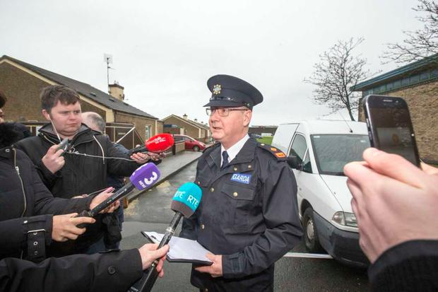 Gardaí hold media briefing at scene of latest gangland shooting (Photo: Mark Condren)