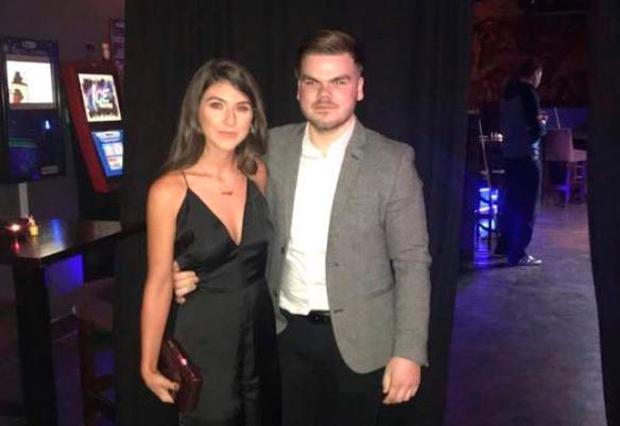Ross Hanlon pictured with his girlfriend Kelly at his 21st birthday party two weeks ago