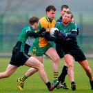Ronan Steede of Corofin in action against Owen Mulligan and Connor Murphy of Fulham Irish, left, during the AIB GAA Football All-Ireland Senior Club Championship Quarter-Final Refixture match between Fulham Irish and Corofin at McGovern Park in Ruislip, England. Photo by Matt Impey/Sportsfile