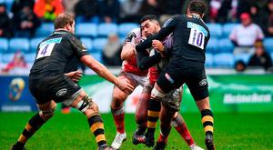 Charles Piutau of Ulster is tackled by Danny Cipriani of Wasps during the European Rugby Champions Cup Pool 1 Round 6 match between Wasps and Ulster at Ricoh Arena in Coventry, England. Photo by Ramsey Cardy/Sportsfile