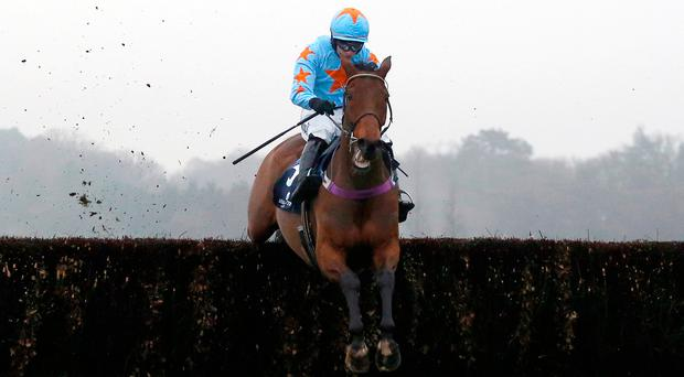 Un De Sceaux ridden by Paul Townend clears the last fence. Photo credit: Julian Herbert/PA Wire