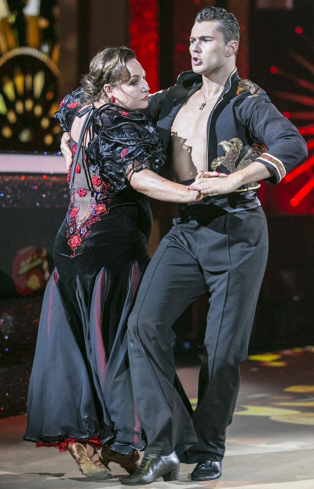 Publisher Norah Casey and Curtis Pritchard dancing a Paso Doble to 'Señorita' by Bond ,during the third show of RTE's Dancing with the Stars. kobpix