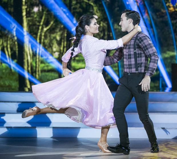 Singer and Brother of Nathan Jake Carter and Karen Byrne dancing a Quickstep to 'Knee deep in my heart' by Shane Filan ,during the third show of RTE's Dancing with the Stars. kobpix