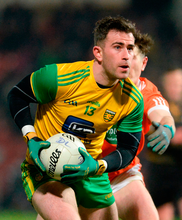 Patrick McBrearty led the way with eight points as Donegal pulled away in the second half. Photo by Oliver McVeigh/Sportsfile
