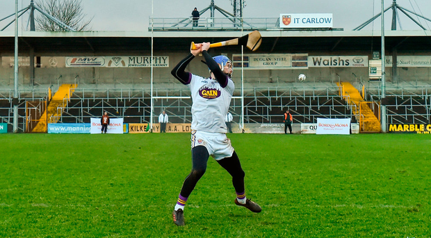 Mark Fanning hits the winning score for Wexford in the free-taking shootout. Photo by Matt Browne/Sportsfile