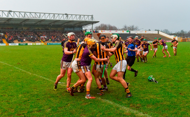 Wexford and Kilkenny tussle during the Bord na Mona Walsh Cup Final. Photo by Matt Browne/Sportsfile