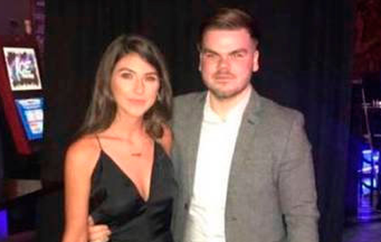 Ross Hanlon and his girlfriend Kelly, who begged him to make contact and get home safely