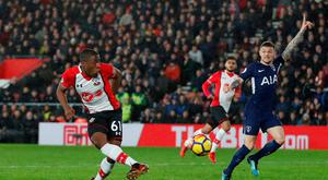 Michael Obafemi missed a late chance to win the game for Southampton on Sunday. Photo: REUTERS