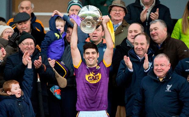 Wexford captain Shaun Murphy lifts the Walsh Cup. Photo: Matt Browne/Sportsfile