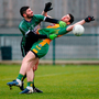 Corofin's Martin Farragher collides with Fulham Irish's Conor Hyde. Photo by Matt Impey/Sportsfile