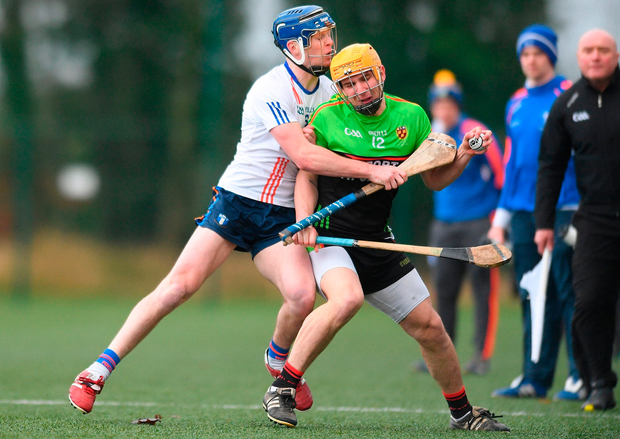 Charles Dwyer of IT Carlow in action against Shane Taylor of Mary Immaculate College Limerick. Photo by Eóin Noonan/Sportsfile