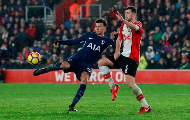 Tottenham's Dele Alli in action with Southampton's Jack Stephens. Photo: Reuters/David Klein
