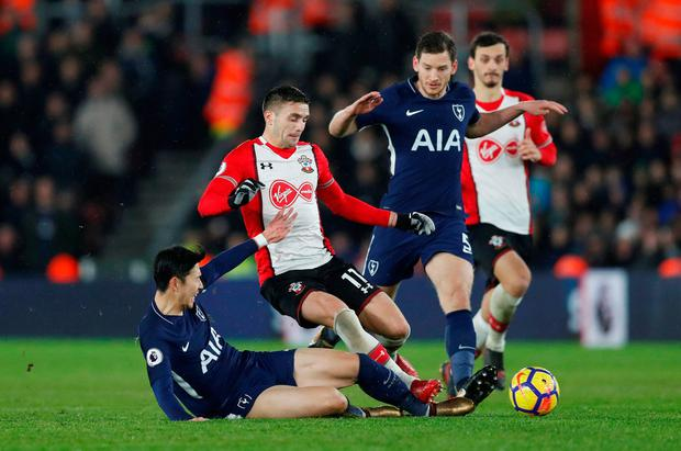Tottenham's Son Heung-min and Jan Vertonghen in action with Southampton's Dusan Tadic and Manolo Gabbiadini. Photo: Reuters/Matthew Childs