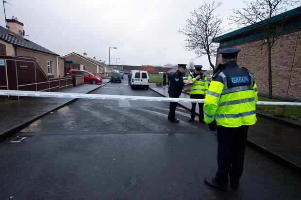 Gardaí at Bridgeview halting site, Wheatfield. Photo: Tony Gavin