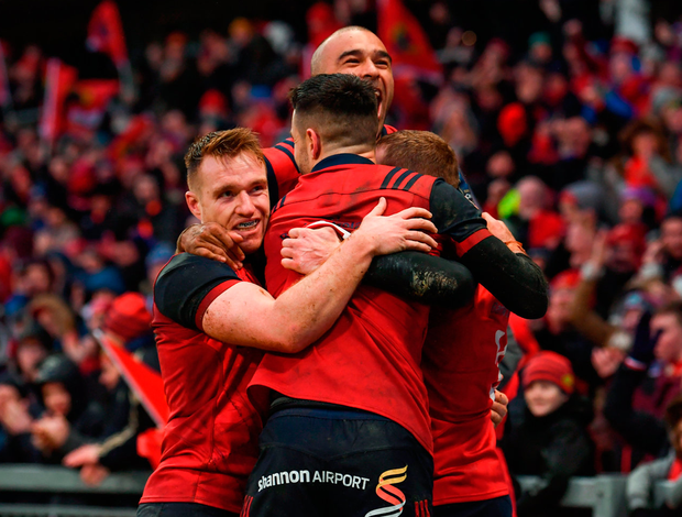 Rory Scannell, Conor Murray and Simon Zebo celebrate Earls's first-half try Photo by Stephen McCarthy/Sportsfile