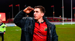 Ian Keatley, who was perfect all day, and Munster's superior scrummaging, put us three up. Photo: Sportsfile