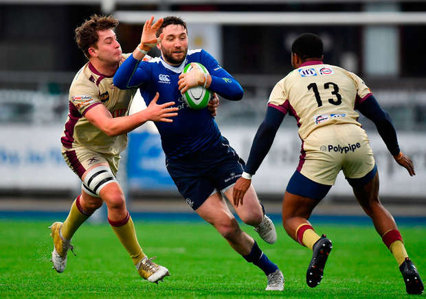 Barry Daly of Leinster A is tackled by Will Owen, left, and Lesley Klim of Doncaster Knights Photo: Sportsfile