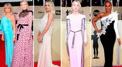 (L to R) Goldie Hawn and Kate Hudson, Margot Robbie, Saoirse Ronan and Mary J. Blige at the 2018 SAG Awards