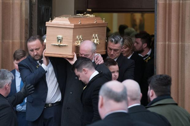 Alexandra Johnston's mum Karen at the funeral of her daughter in Derry on Sunday. Picture: Martin McKeown